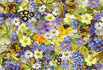 Laeacco Colorful Flowers Wall Background 10x6.5ft Baby Shower Vinyl Photography Backdrop Blossom Floral Wall Yellow Daisy Hydrangea Summer Scenery Garden Wedding Birthday Party Decor Portrait Shoot