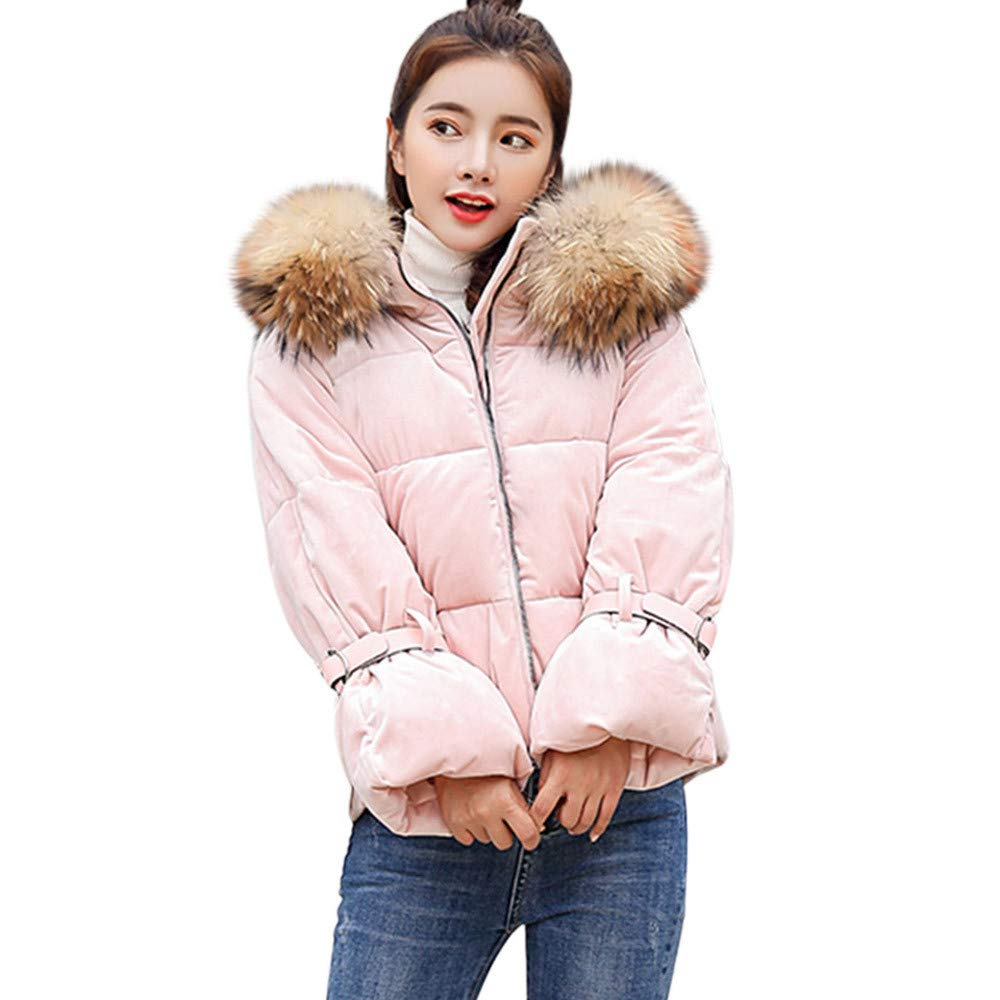 Challyhope Womens Fashion Puffer Down Coat Belted Trim Jackets with Faux Fur Hoodie Women Gift Ideas