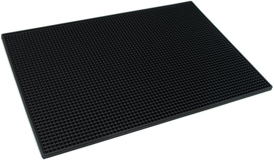 PVC Bar Service Mat for Cocktail Bartender 18x12 inches (Black)