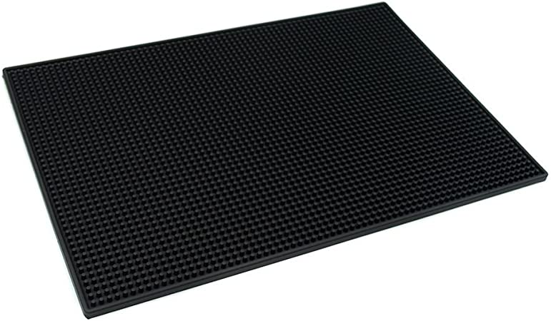"""Black Mat Bar Rubber Service 12/"""" X 18/"""" Spill Drink Vodka Beer Table Cover New"""