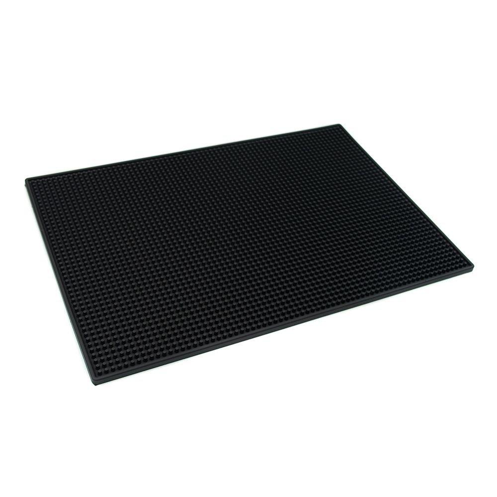 18x12 PVC Bar Service Mat for Cocktail Bartender (Black)