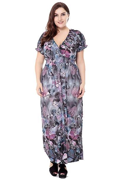 Vestido para Mujer Tallas Grandes Vestido Largo Elegante Estampado Floral Vestido de Noche Azul Gris 6XL