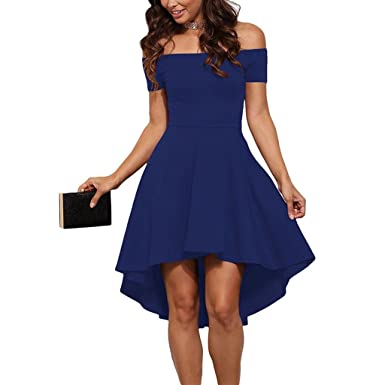 5db0fc9de5bd ASCHOEN Damen Schulterfrei Skater Kleider Elegant Asymmetrisch Sexy Party  Abendkleid Blau XL  Amazon.de  Bekleidung