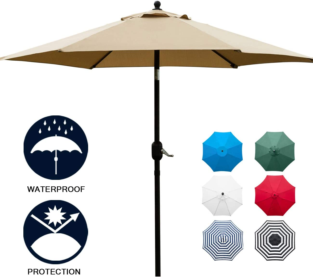 Sunnyglade 7.5 Patio Umbrella Outdoor Table Market Umbrella with Push Button Tilt Crank, 6 Ribs Tan