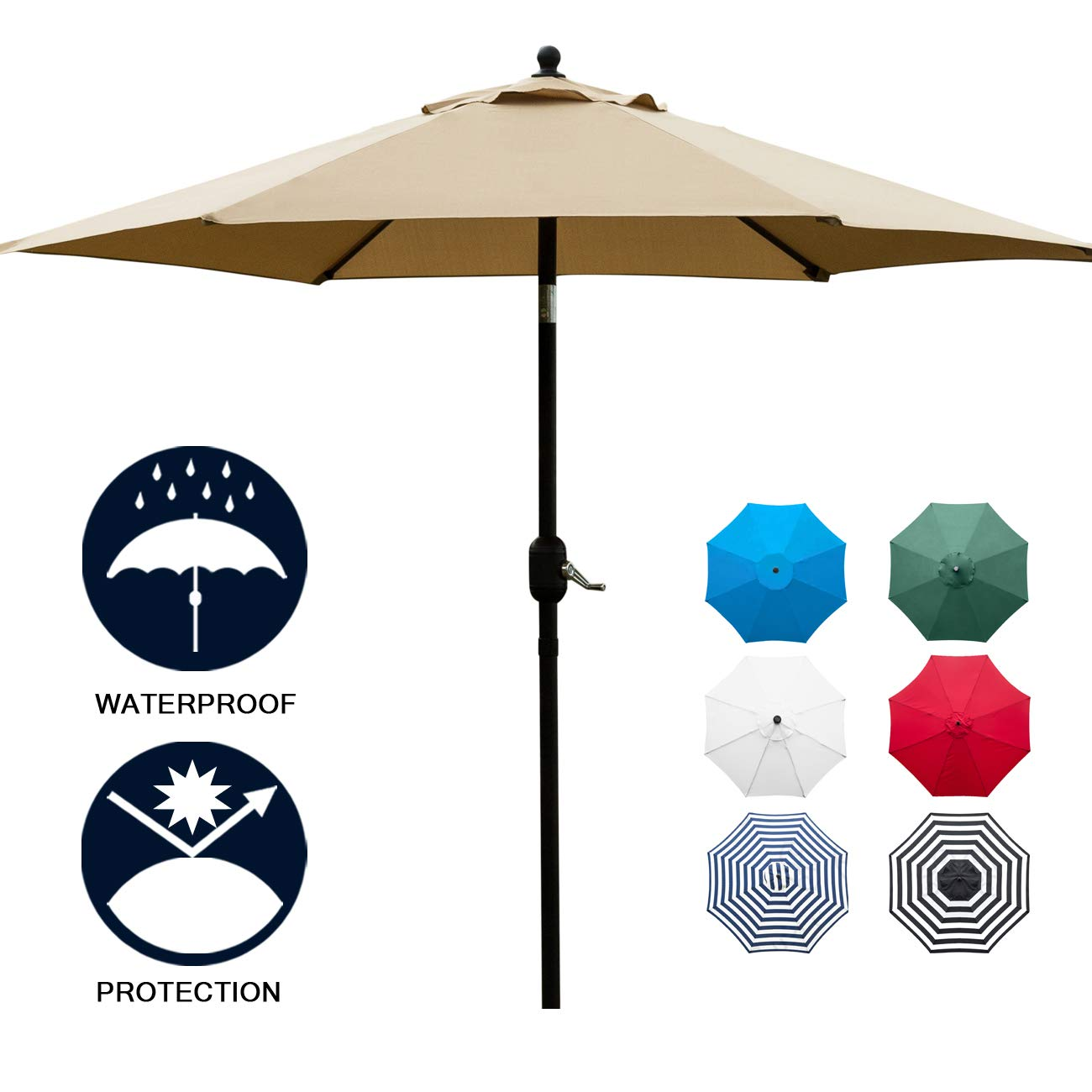 Sunnyglade 7.5' Patio Umbrella Outdoor Table Market Umbrella with Push Button Tilt/Crank, 6 Ribs (Tan)