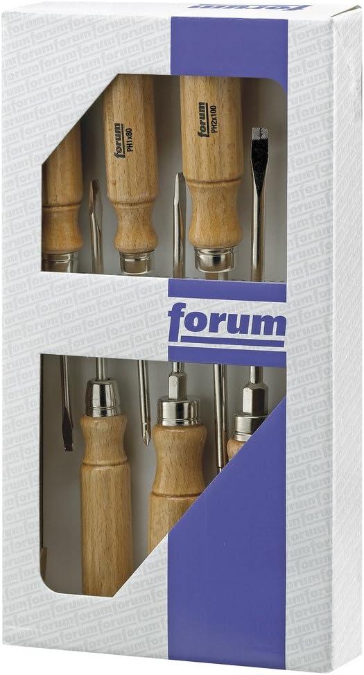FORUM Set de destornillador madera, 5 Piezas Ranura 3,5 -9mm