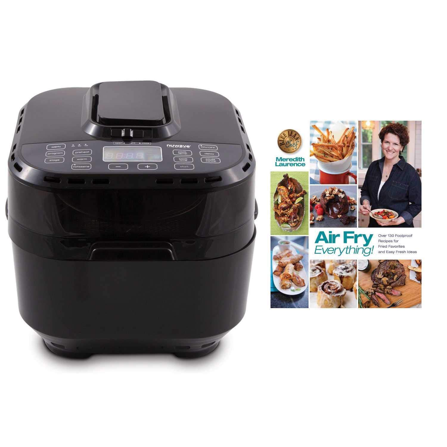 W  Cookbook NuWave Brio Black 10 Quart Digital Air Fryer with 3 Piece Gourmet Accessory Kit