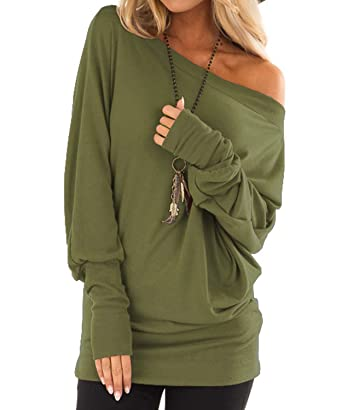 0590a79cf6c4f GSFANG Womens Sexy One Shoulder Long Sleeve T-Shirts Loose Solid Pullover  Tops Tee (