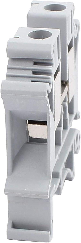DULALA Terminal Blocks 2Pcs UK-10N DIN Rail Mount Guide Terminal Block 800V 76A 10mm 2 Cable