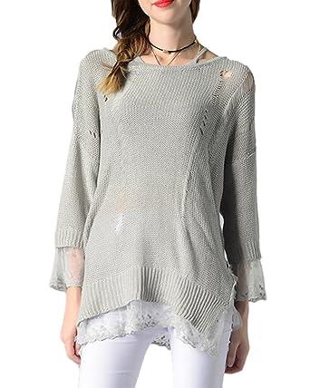 ZhuiKun Damen Pullover Schnüren Stitching Strickpullover