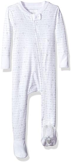 Burts Bees Baby Unisex Baby Organic Zip Front Non-Slip Footed Sleeper Pajamas, Heather
