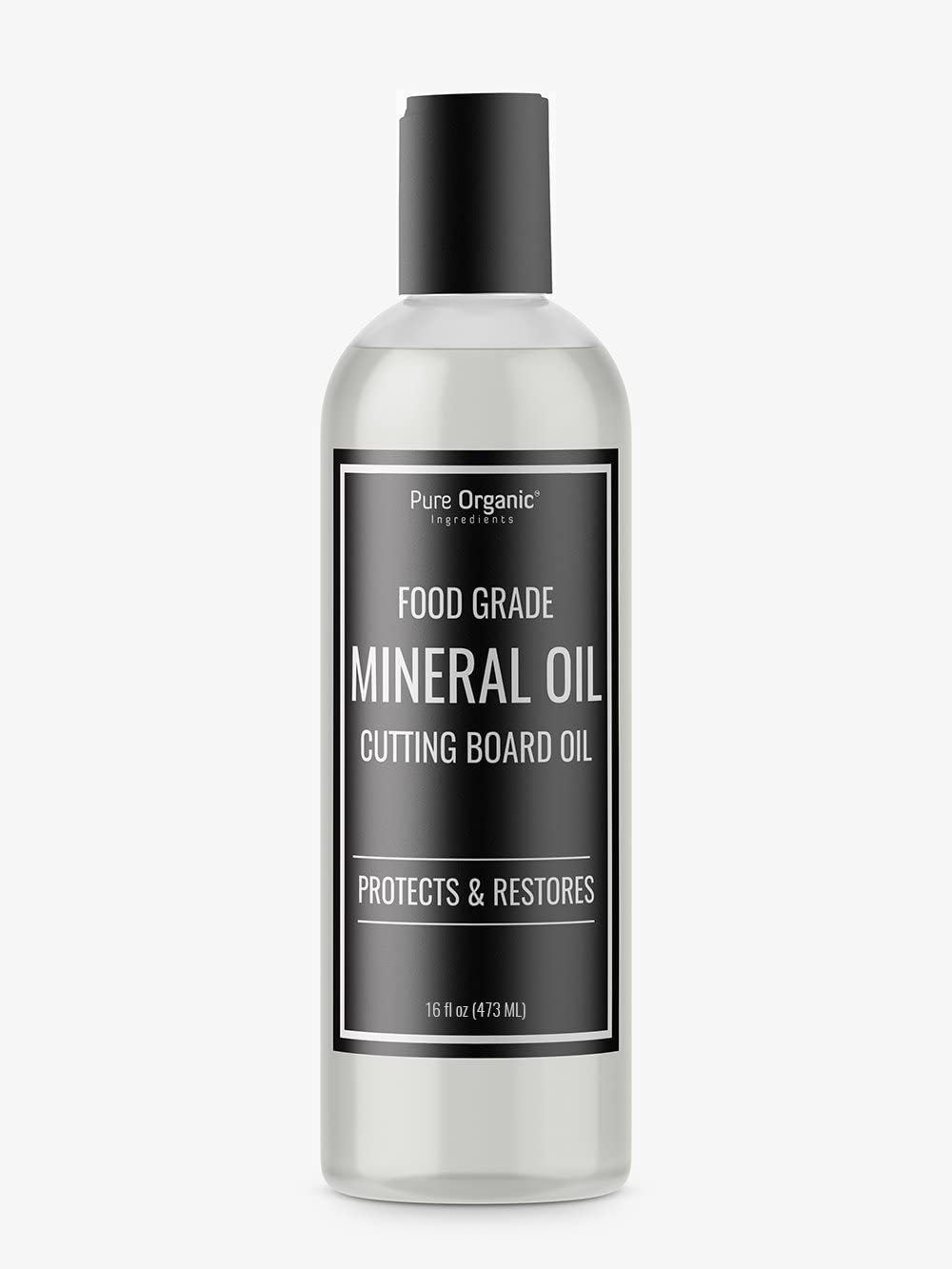 Mineral Oil (16 oz.) by Pure Organic Ingredients, Food & USP Grade, for Cutting Boards, Butcher Blocks, Counter Tops, Wooden Utensils, More