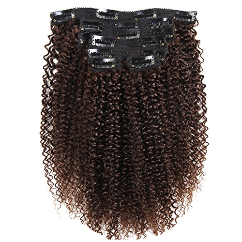"Price comparison product image African American Good Quality Afro Kinky Curly Clip in Hair Extensions Human Hair Double Weft 3b 3c Hair Brazilian unprocessed Virgin Hair Clip ins 7Pieces/set (120g 14"", Dark Brown K C)"