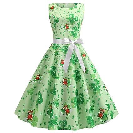 a1984e8a208 Amazon.com  Fiaya Dress for Women Vintage Clover Print Costume Green ...