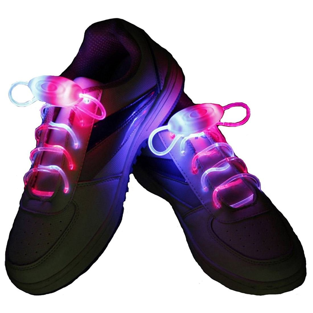 LED Cordones - SODIAL(R) Intermitente Bright LED Cordones de los Zapatos Cordones Luminosos de 80cm Amarillo rojo 095545A4