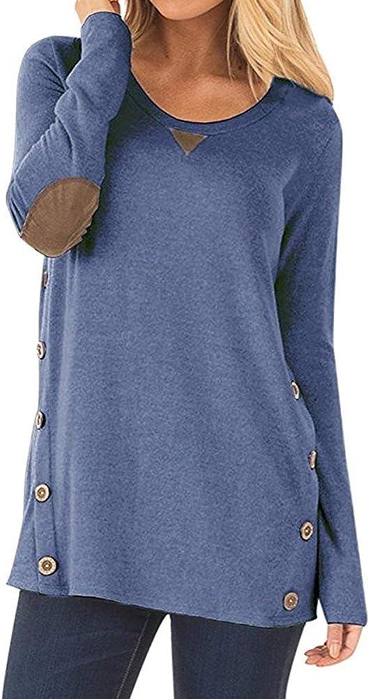 Abravo Camiseta para Mujer T Shirt Primavera Redondo Túnica de Manga Larga Camisas Casual Suelto Blusas Tops T-Shirt (Small, Azul): Amazon.es: Ropa y accesorios