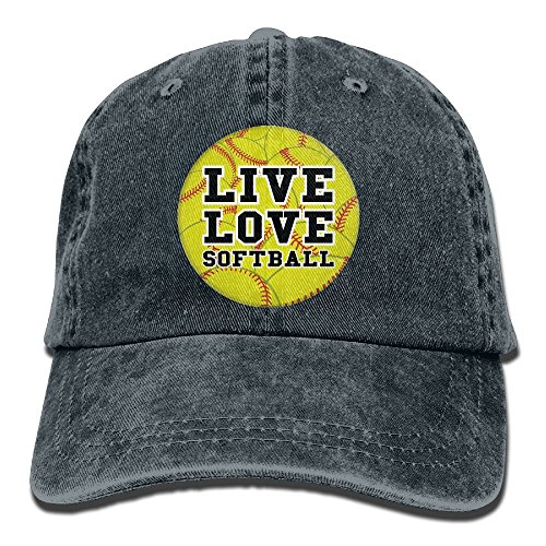 Qbeir Adult Cowboy Cap Hat Live Love Softball Adjustable Cotton Denim Sunscreen Fishing Outdoors Retro Visor