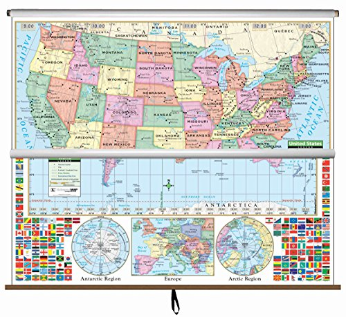 Map Primary Wall - U.S./World Primary Wall Map Combo Roller (Primary Classroom Wall Maps)