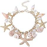 Pandahall Fashion Sea Shell Starfish Faux Pearl Charm Bracelets New Golden