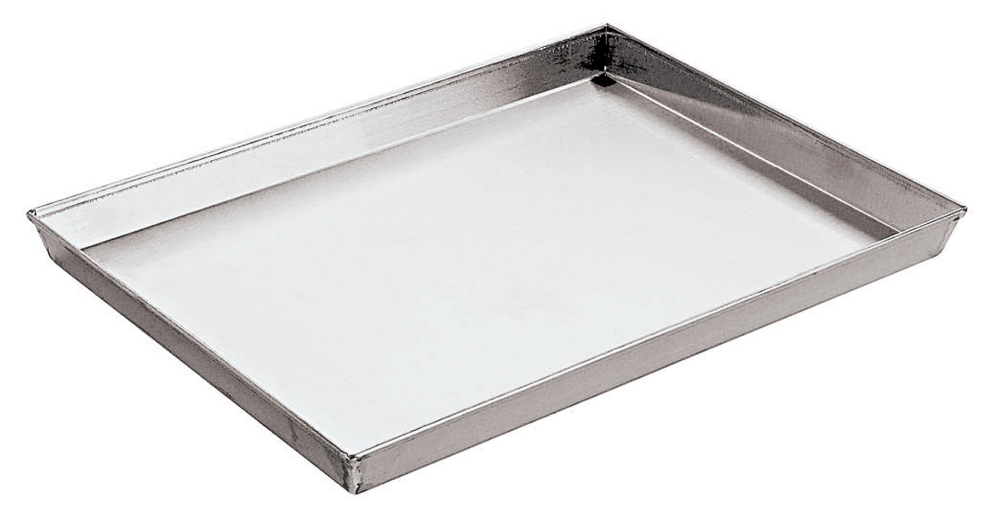 Paderno World Cuisine 23 5/8 Inch by 15 3/4 Inch by 1 1/8 Inch Splayed Sided Aluminized Steel Baking Sheet