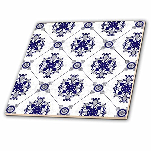 3dRose Elegant Blue & White Medallion Pattern - Ceramic Tile, 4-Inch (ct_192861_1)
