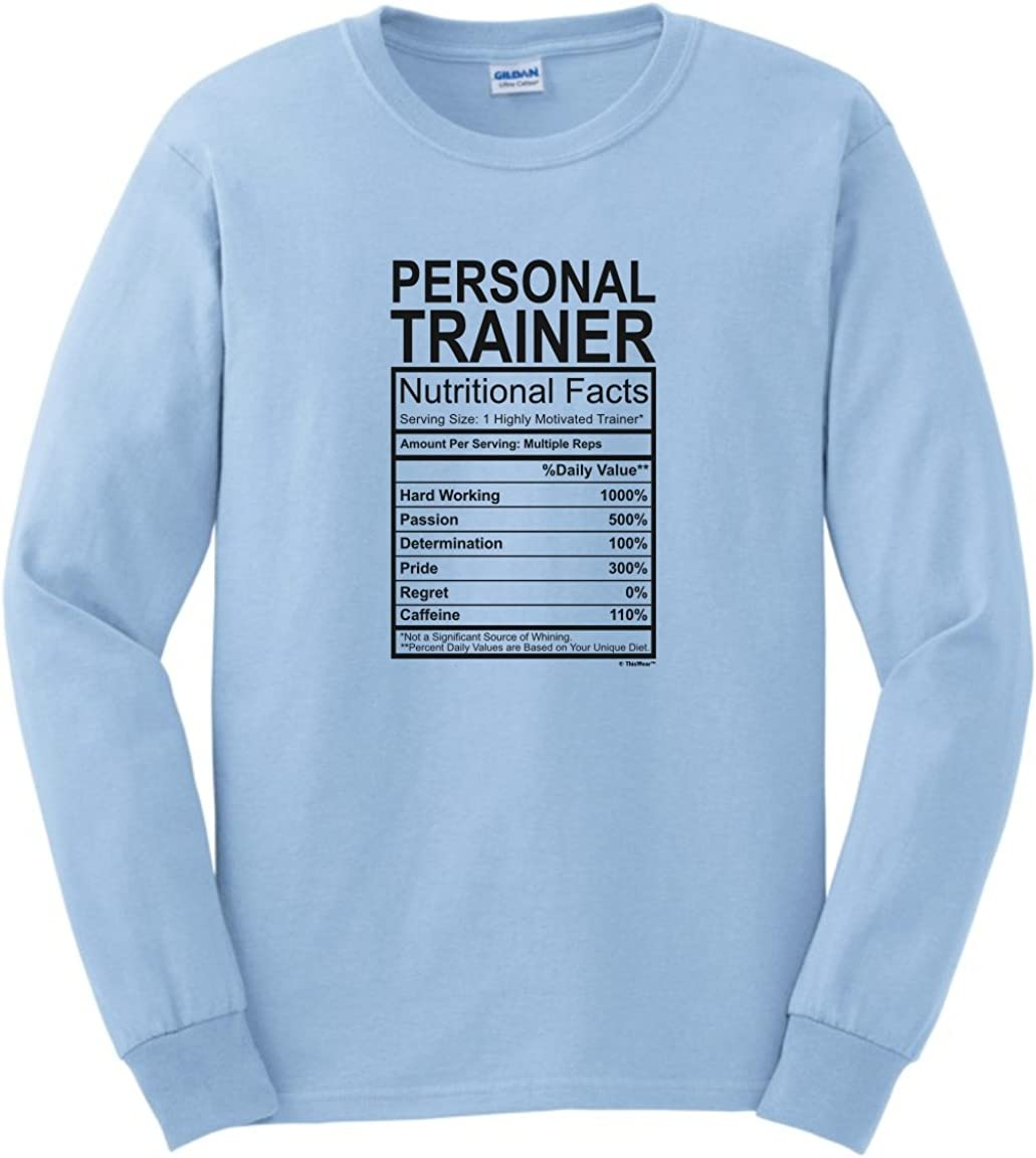 Long Sleeve Shirt Big Grey Awesome Personal Trainer Tee Shirt