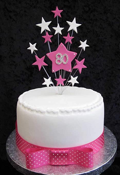 80th Birthday Cake Topper Hot Pink And White Stars Suitable For A