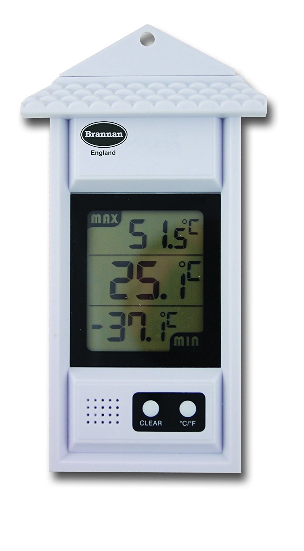 Digital Max Min Thermometer - Greenhouse Wall Garden Growroom Conservatory Indoor Outdoor