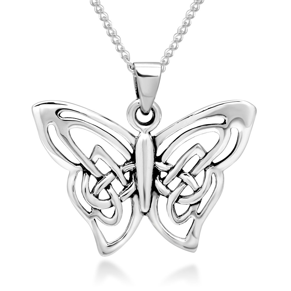 925 Sterling Silver Celtic Butterfly Pendant Necklace 18