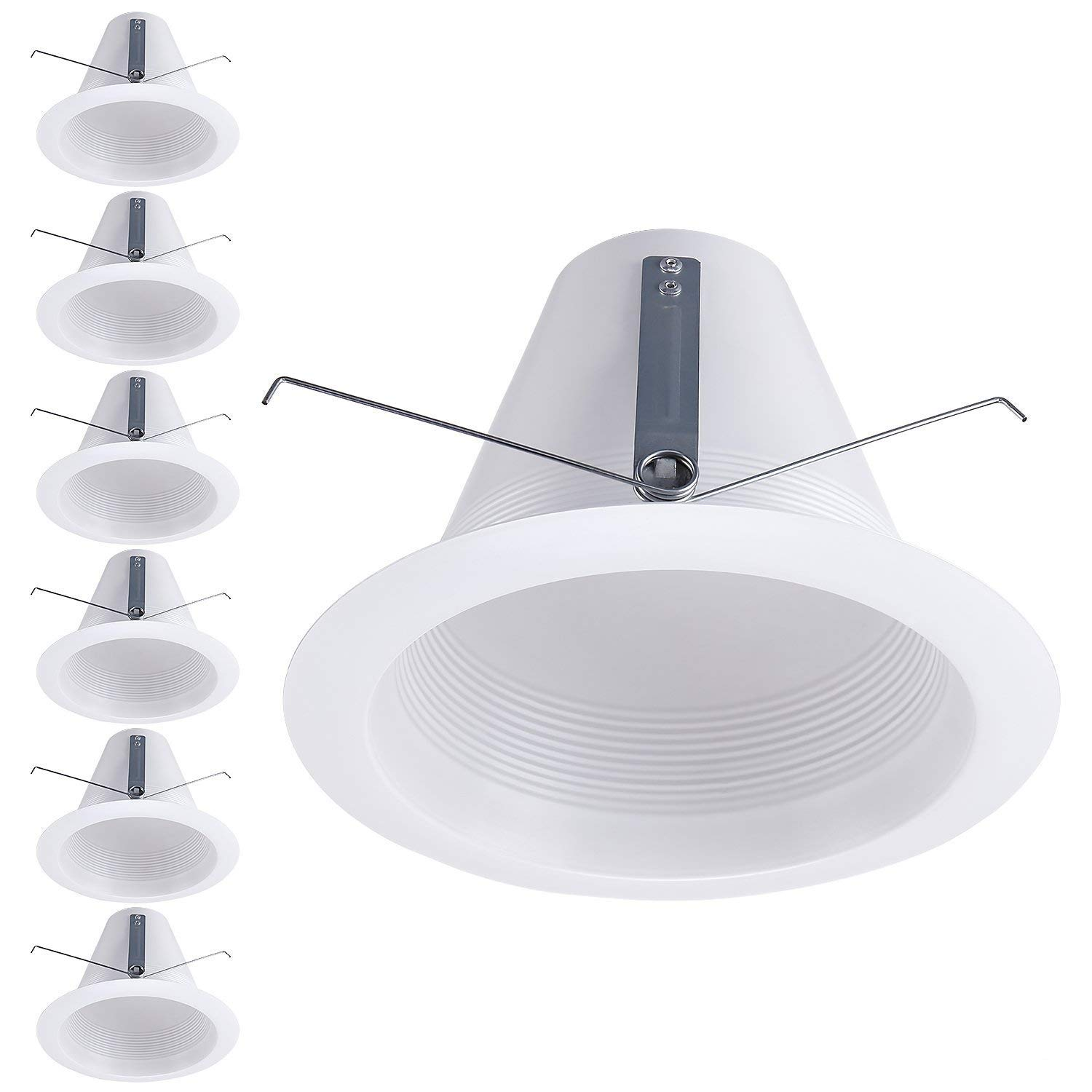 TORCHSTAR 6 Pack 6 Inches Recessed Can Light Trim, White Air Tight Baffle Trim, Anti-Glare Self-Flanged Downlight Trim, for PAR30, BR30, PAR38, BR40, A19 Bulbs & 6'' Housing Can