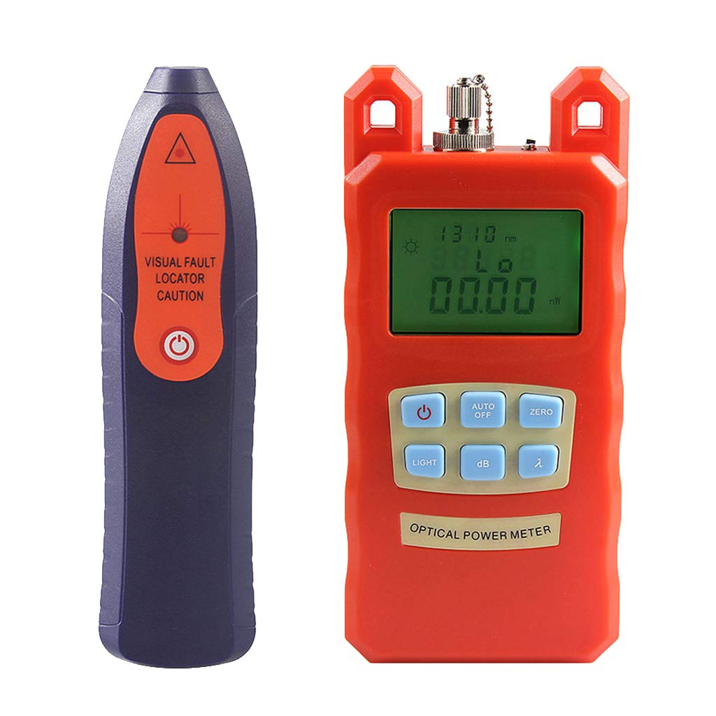 Prettyia AUA-70C Fiber Optic Cable Tester Optical Power Meter with Sc & Fc Connector Fiber Tester +20mW Visual Fault Locator Tools for CATV Test,CCTV Test