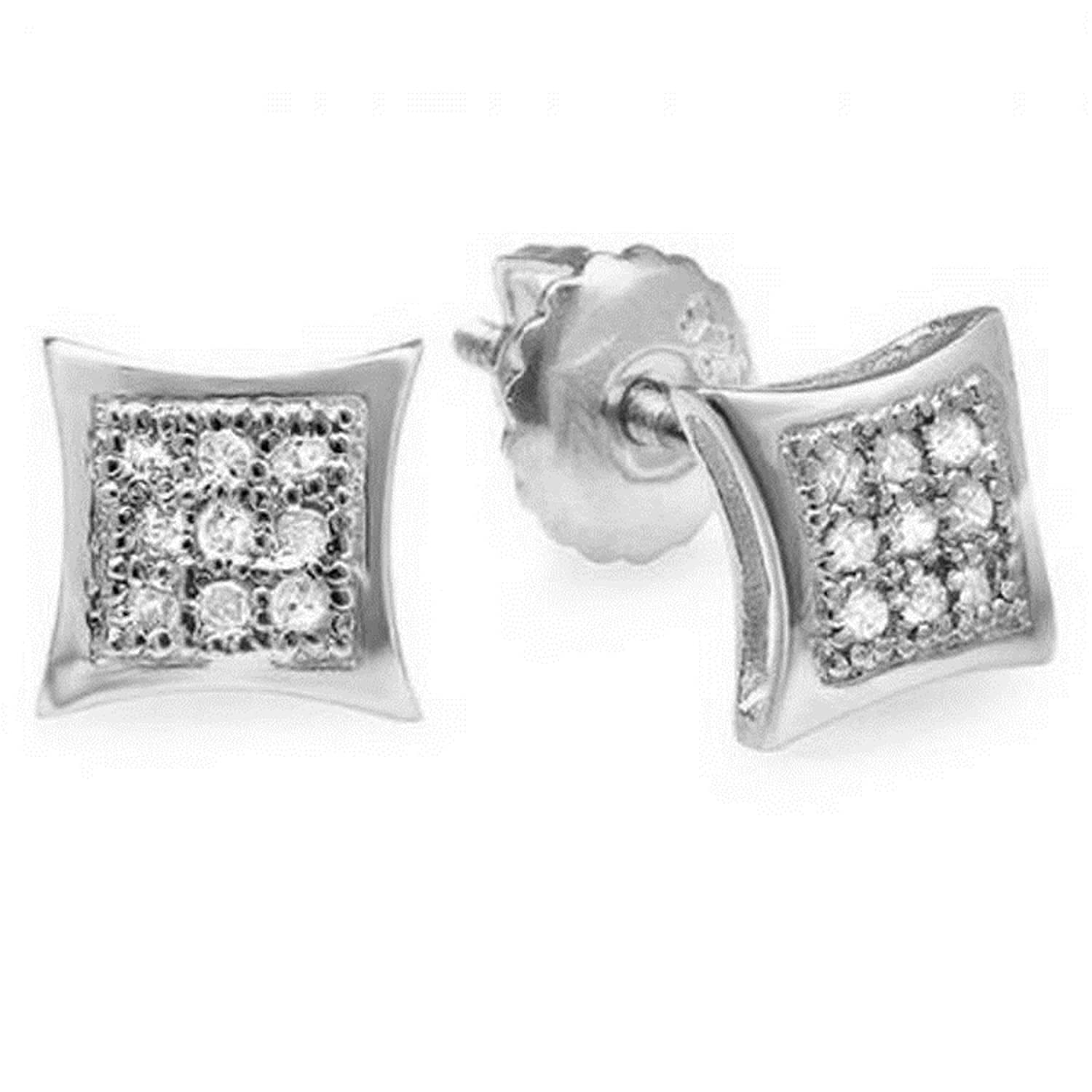 0.08 (Ctw) 10K White Gold Round Cut Diamond Men's Hip Hop Kite Shape Stud Earrings