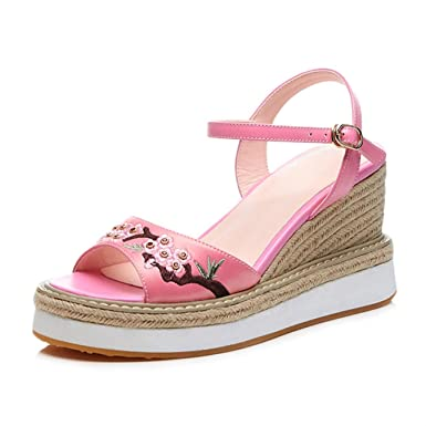 256a9c50a03 Amazon.com  Fanyuan Sandals Women Luxury Embroidered High Heels Platform  Shoes  Clothing