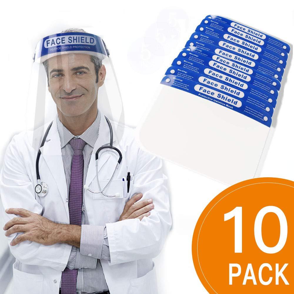 Pantalla de protecci/ón Facial Transparente,Visera Protectora para la Cara, Protecci/ón contra Agentes Pat/ógenos y Externos 10