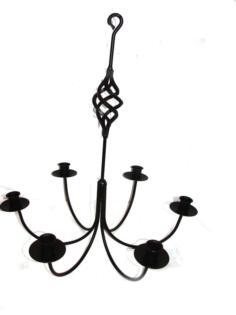 Wrought iron 6 arm candle chandelier w bird cage