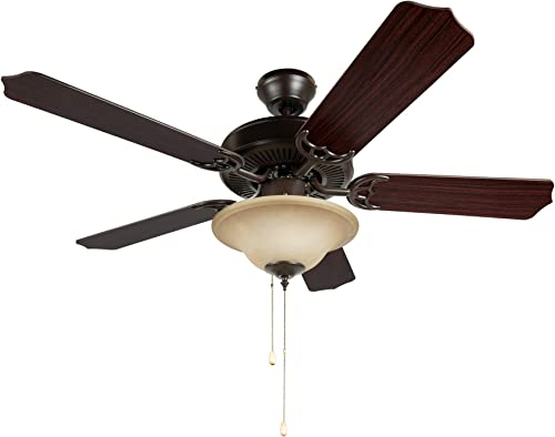 Hyperikon 42 Inch Ceiling Fan, 60W, Remote Control and Pull Chain, Rust Body, 5 Blades, Frosted Dome Light E12 Screwbase, Mahogany