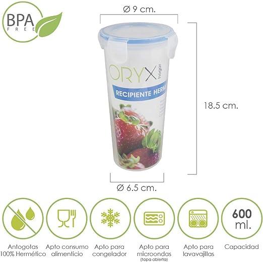 Oryx 5025030 Vaso Recipiente Hermetico Medidor Plastico Redondo ...
