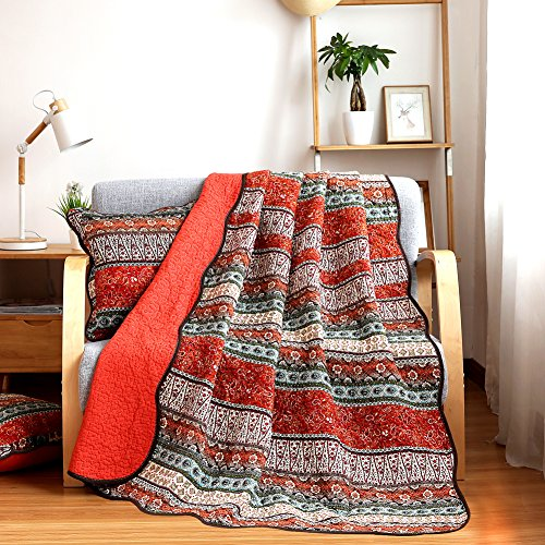 NEWLAKE Quilt Throw Blanket with Classical Floral Patchwork, Orange Jacquard, 60X78 Inch