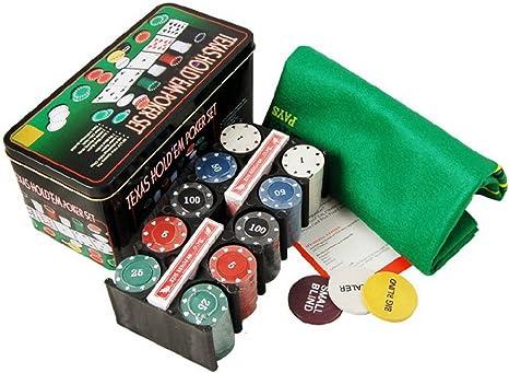 JIN Ailsa Texas Hold em lata caja de 200 fichas Poker con gamuza ...