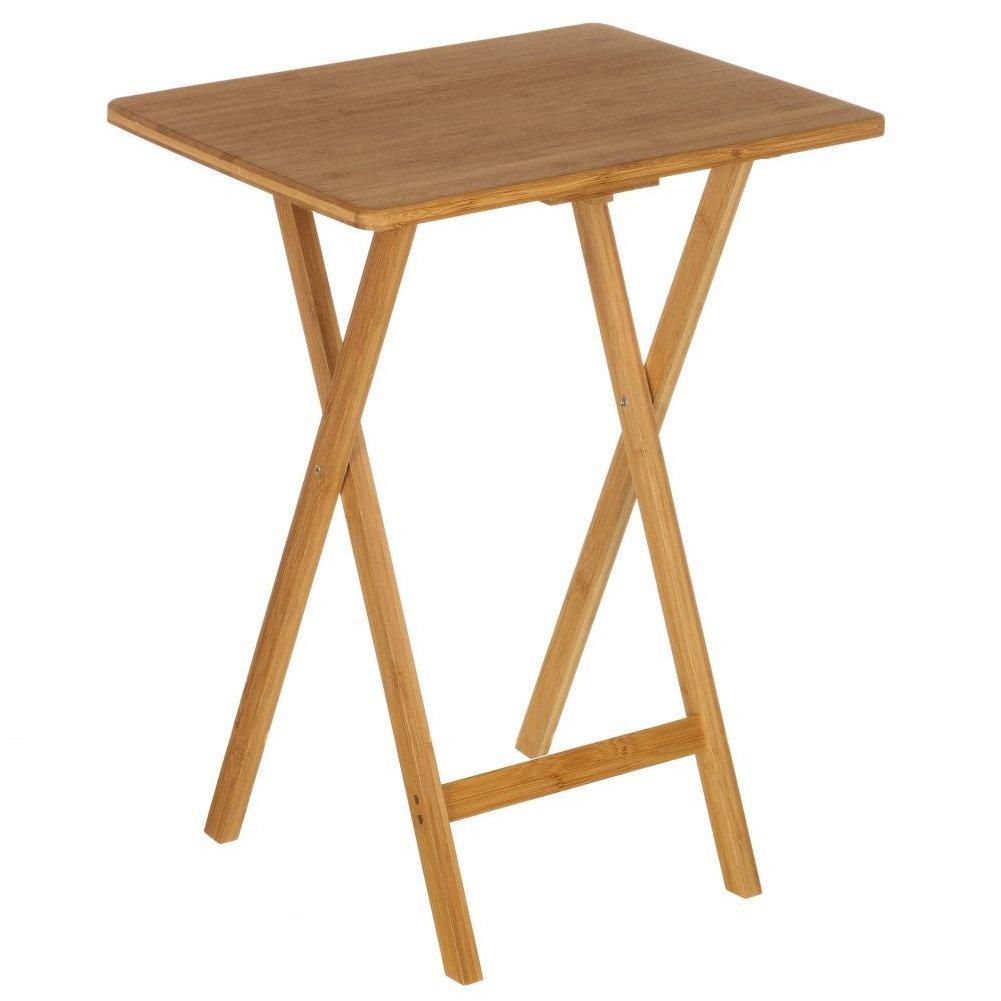 Bakaji Tavolo Tavolino in Legno di Bambu' Richiudibile Pieghevole Colore Bamboo Naturale Dimensioni 49 x 37 x 65 cm Salvaspazio per Casa Giardino Terrazzo Campeggio