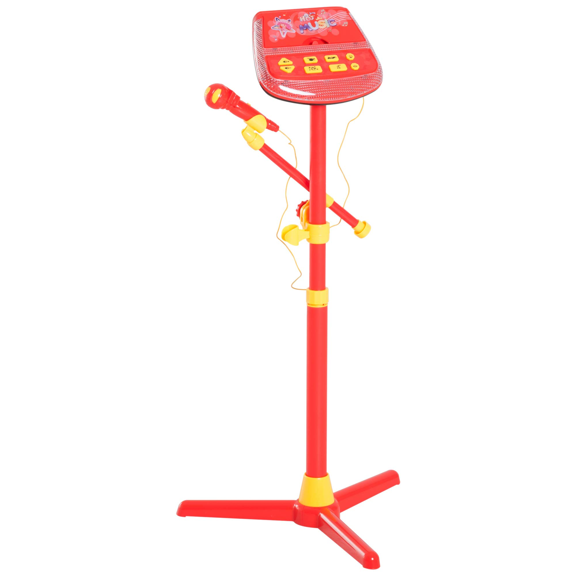 Qaba Kids Karaoke Machine Toy Play Set Music Lights with Microphones & Adjustable Stand - Red