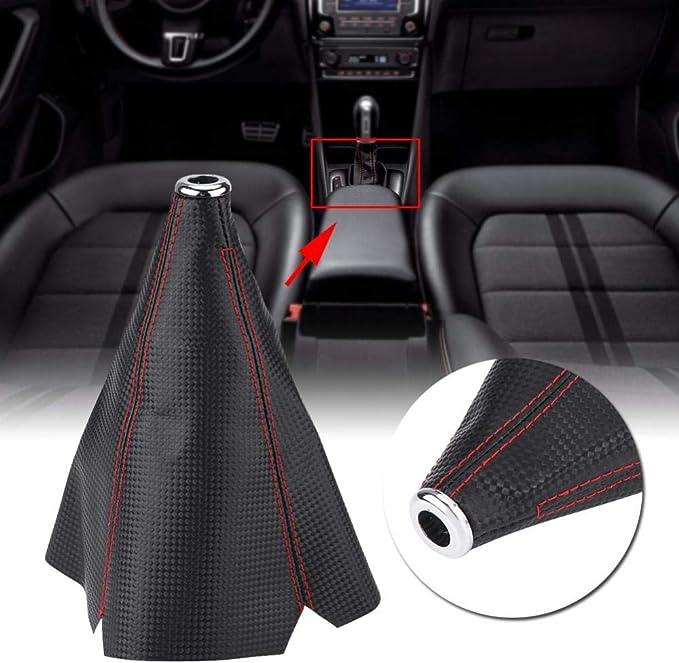 Red Schaltknauf,Auto Handschaltknauf Auto Universal Modifikation Carbon Manueller Schaltknauf Schaltkopf Shifter