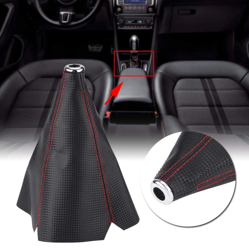 Cuoio Auto//Manuale Gear Shift Manopola Cover Gaiter Boot Cover Universal Gear Shifter Manopola Dust Cover Boot Gear Gaiter Cover Nero Bright Red Stitch