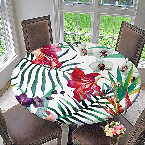 Mikihome Round Tablecloths Watercolor,Tropical,Pattern,Wallpaper,Background,Birds of Paradise,Orchids or Everyday Dinner, Parties 31.5