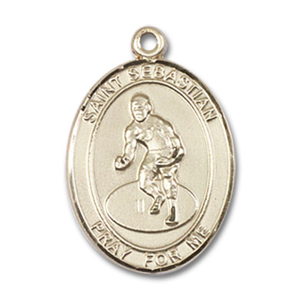 Custom Engraved 14kt Yellow Gold St. Sebastian / Wrestling Medal 3/4 x 1/2 inches