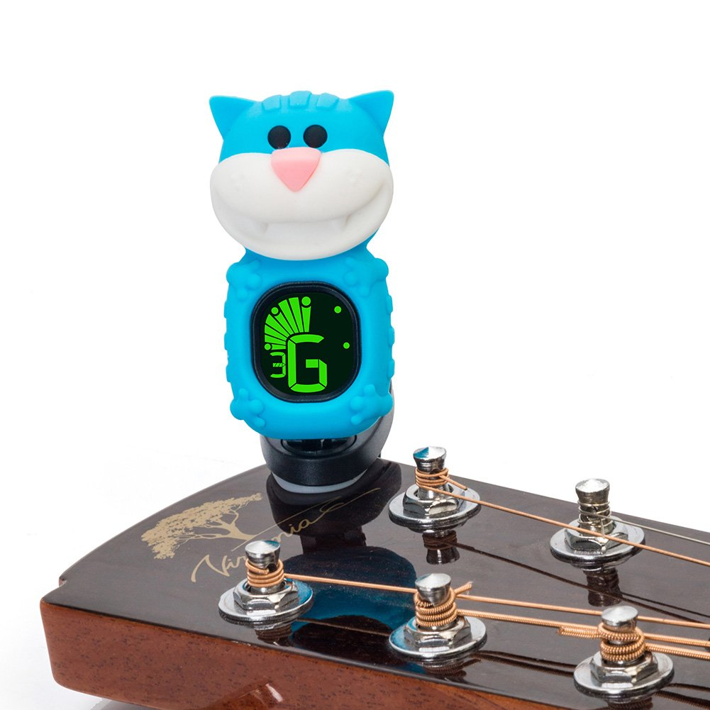 Clip On Accordatore Accordatore per Chitarra Ukulele Basso Violino Cartoon Big Face Cat, Blau lennonsi
