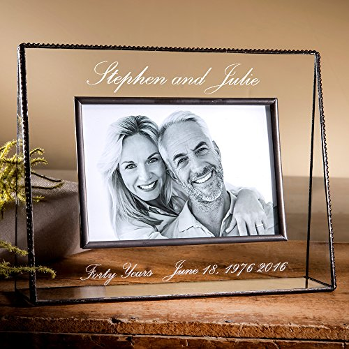 J Devlin Pic 319-46H EP553 Personalized Anniversary Picture Frame Engraved Glass 4x6 Horizontal Photo Frame 1st 5th 10th 15th 20th 30th 40th 50th Anniversary Keepsake Gift
