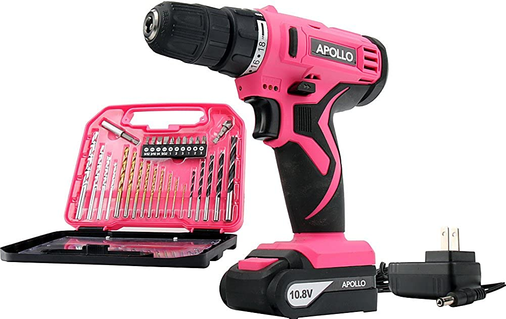 Apollo Tools 10.8 V Lithium-Ion Cordless Drill with 30 Piece Accessory Set