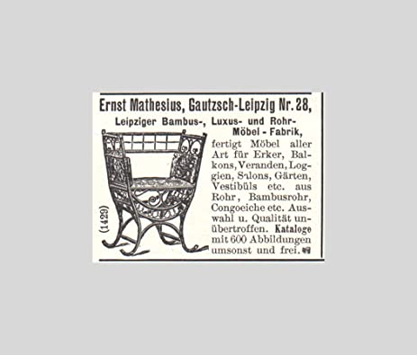 1903 Print Ad Ernst Mathesius Leipzig Bamboo Tube Furniture Factory