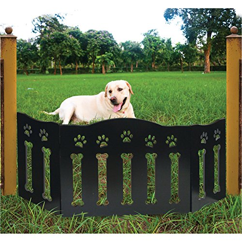 (Etna Wooden Paws and Bones Pet Dog Gate - Free Standing Tri-Fold - 19